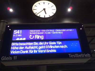 Unsere Uhr geht falsch. Thank you for travveling with Deutsche Bahn and goodbye.
